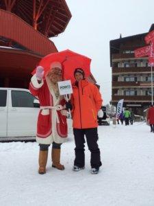 Joulupukki ja POW-lähettiläs Miikka Hast haluavat pelastaa talvet.